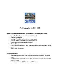 Pre-school supply list for 21-22
