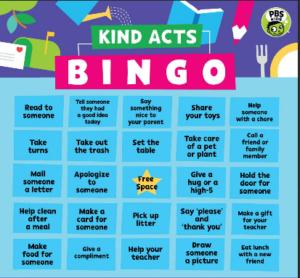 bingo card for kindness challenge